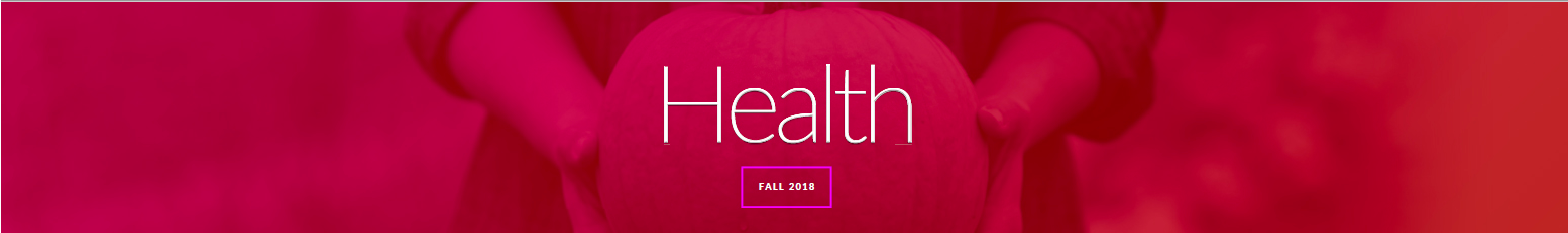 Health Magazine Fall 2018 banner image - red pumpkin