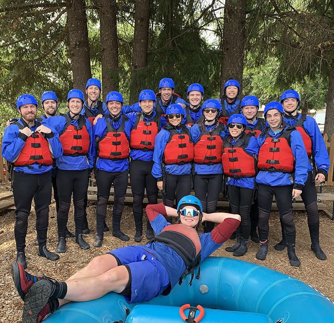 Casey residents bond during a rafting trip at their annual team building activity.