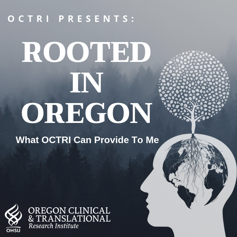 Album art for OCTRI's podcase series, Rooted in Oregon.