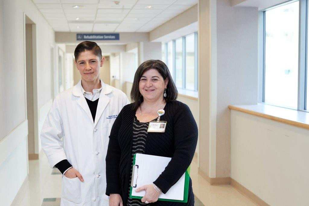 Amy Penkin (right) has led OHSU's Transgender Health Program since it started in 2015. She is pictured with Dr. Gene De Haan, a former OHSU resident.