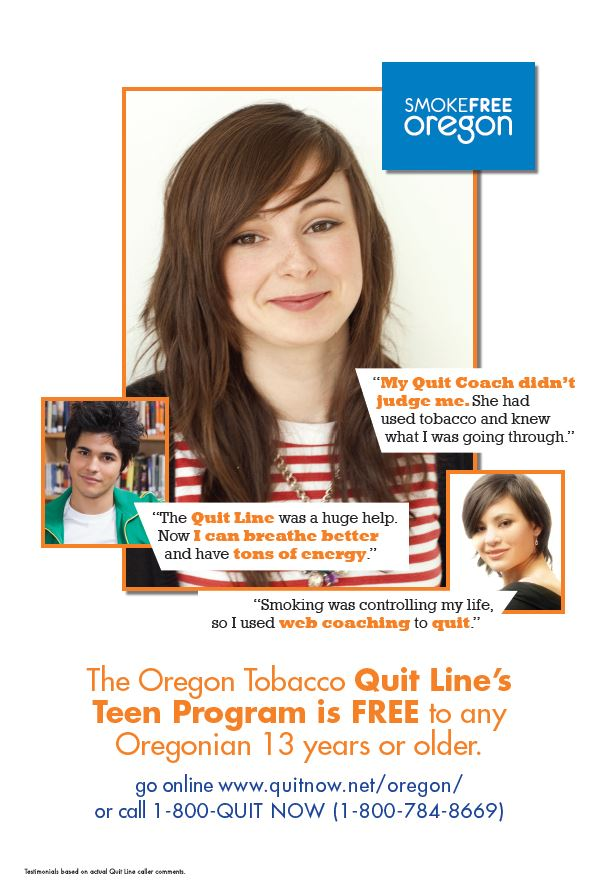 Oregon Tobacco Quit Line Teen Program is Free to any Oregonian 13 years or older