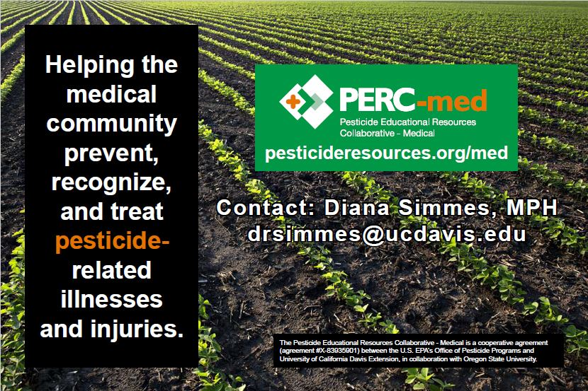 PERC-med postcard with contact information for program coordinator, Diana Simmes, MPH: drsimmes@ucdavis.edu