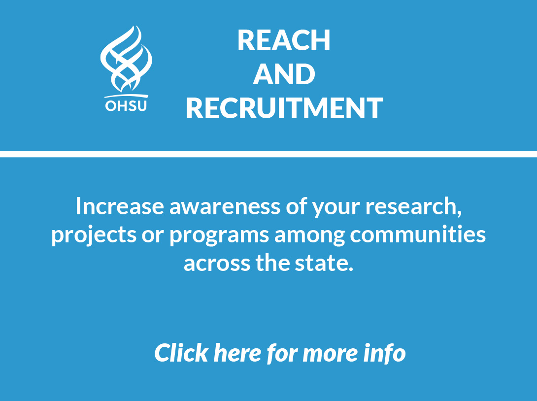 Blue logo image of Reach and Recruitment service which can increase awareness of your research projects or programs among communities across the state and a link to more info.