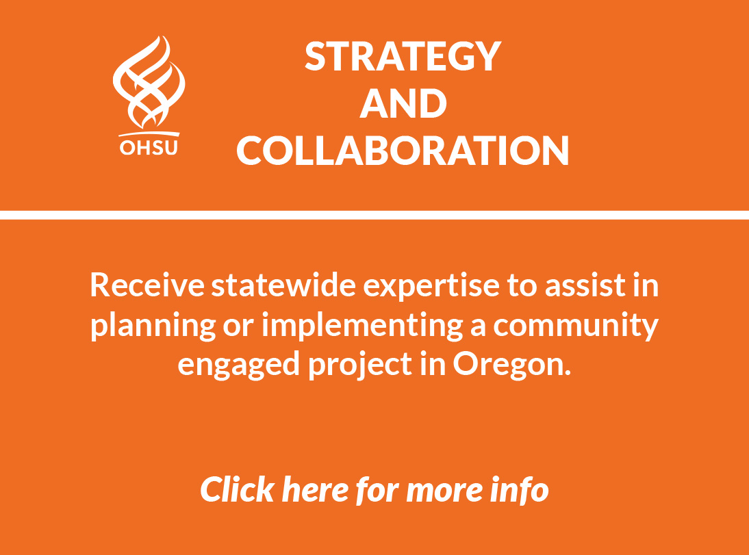 Orange logo image of Strategy and Collaboration service explaining you can receive statewide expertise to assist in planning or implementing a community engaged project in Oregon and a link to more info.