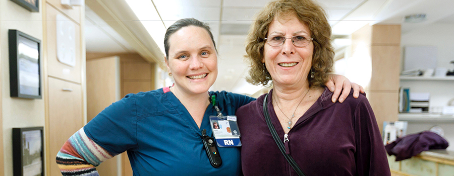 Julia O'Neill, RN, with Jean Bryant, a patient who has received care at OHSU through our program. Bryant now volunteers with our program to help others