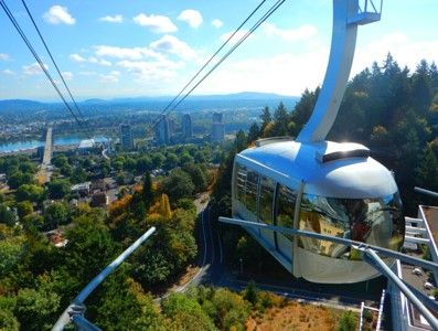 Tram over OHSU south waterfront