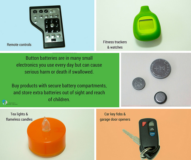 Button batteries can be found in small electronics, remote controls, activity trackers and other battery-operated devices.