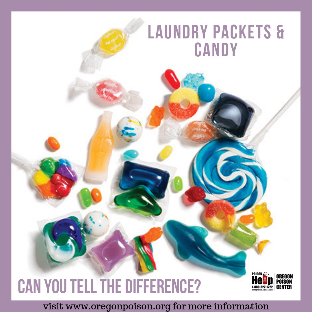 Liquid laundry packets and candy look alike. Can you tell the difference?