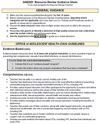Screenshot of the first page of the guidance sheet