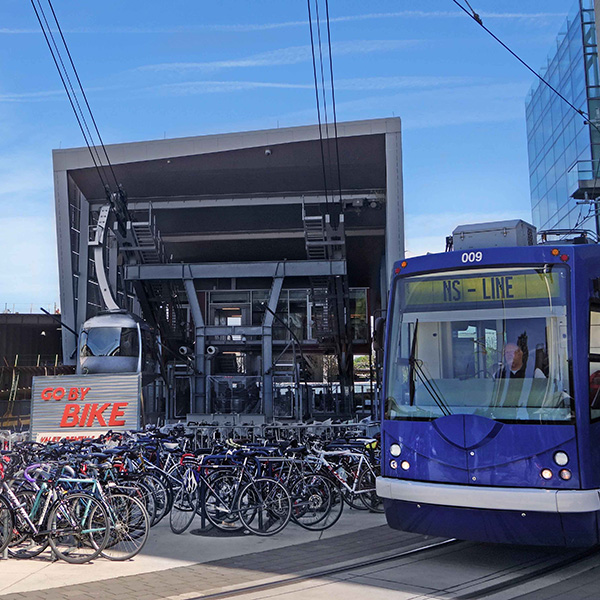Streetcar, tram and bike valet at the waterfront