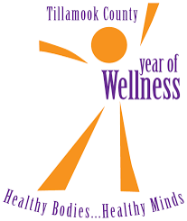 Logo for tillamook county year of wellness campaign.  Orange stick figure of a human with purple letters stating: tillamook county year of wellness. healthy bodies, healthy minds.