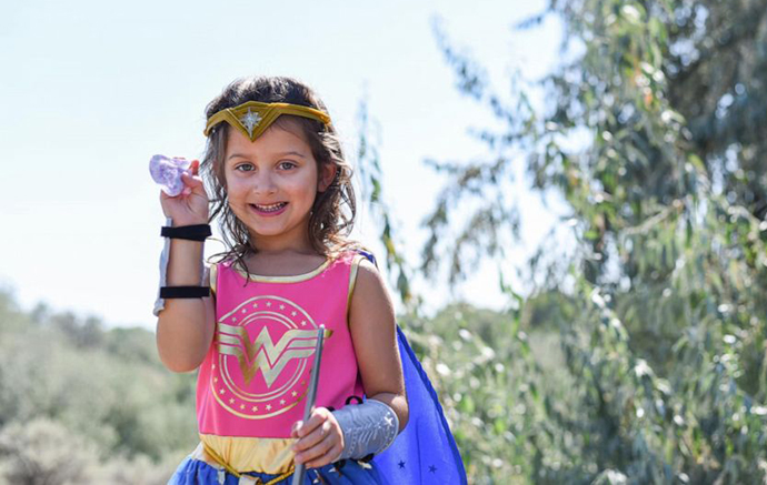 Aliyah was able to remove her eye patch and wore a Wonder Woman costume to celebrate.
