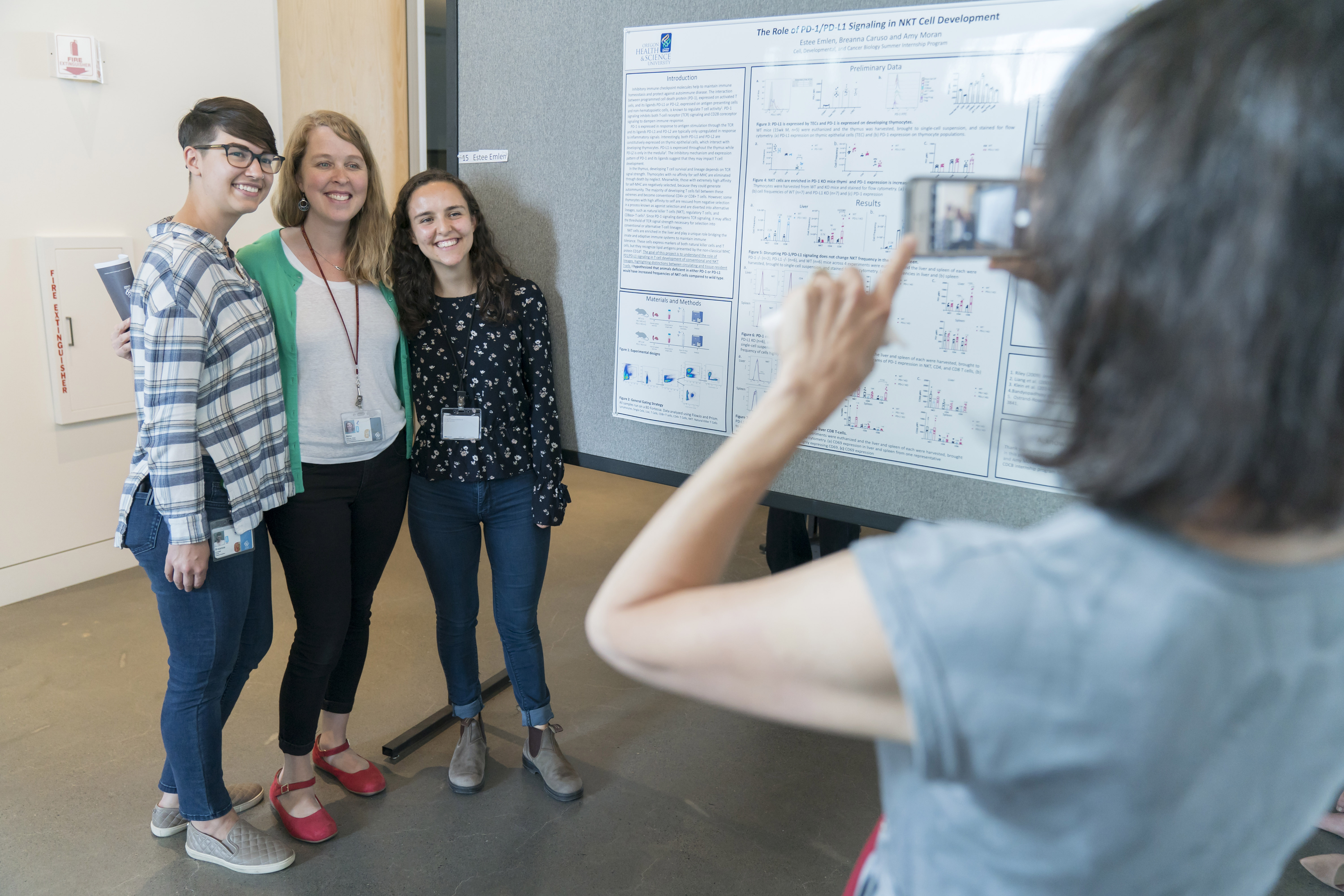 2019 CDCB poster symposium with Assistant Professor Amy Moran, Graduate student Breanna Caruso, and intern Estee Emlen