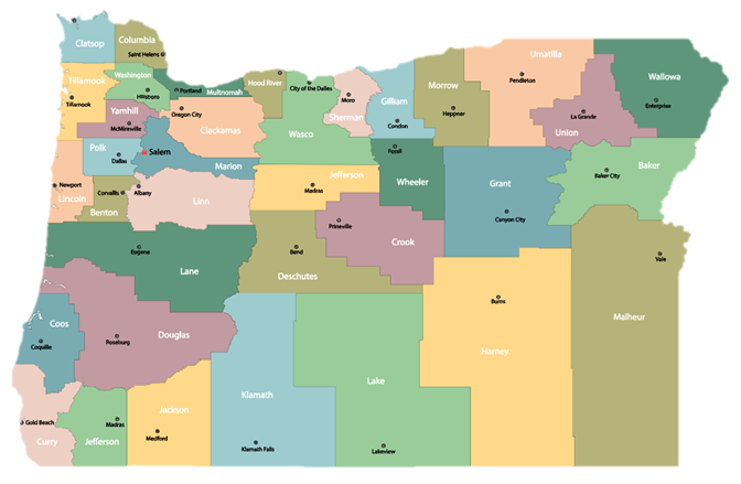 Map of counties in Oregon impacted by the Knight Cancer Community Outreach and Engagement Program.