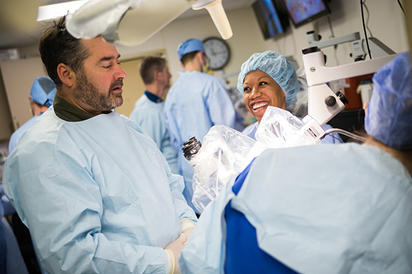 Dr. Justin Cetas, one of our neurosurgeons, and Dr. Lauren Simpson work together in our neurosurgery simulation lab.