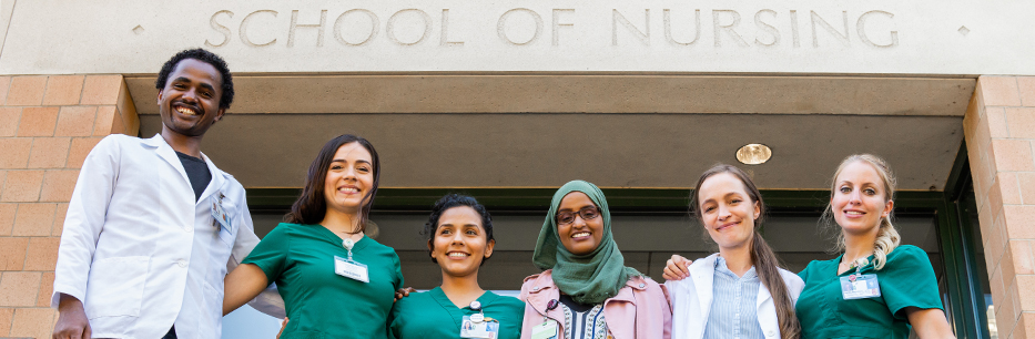Nursing students in front of the Portland SON building