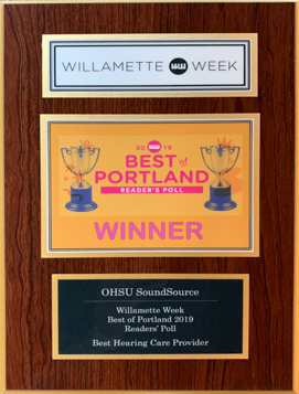 Willamette Week 2019 Best Hearing Care Provider Award
