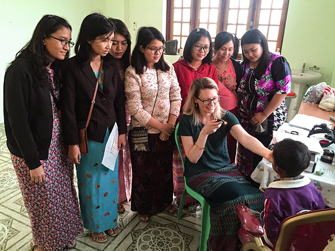 Dr. Allison Summers from OHSU Casey Eye Institute trains ophthalmologists in Myanmar.