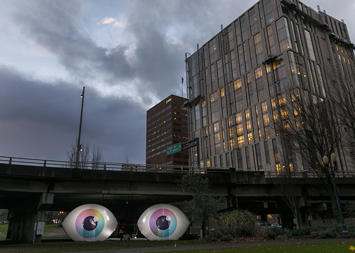 The Eye Love Project exhibit is shaped like two giant eye, and celebrates the importance of vision.