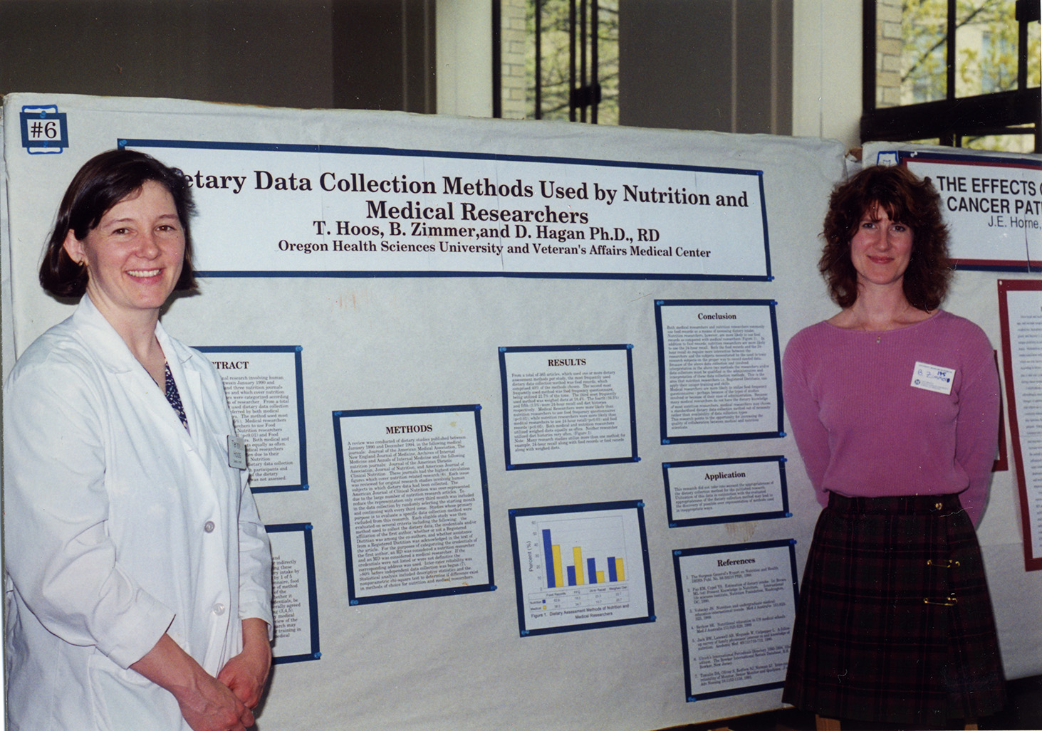 "Two presenters stand by a research poster that reads, ""Dietary Data Collection Methods Used by Nutrition and Medical Researchers"" by T. Hoos, B. Zimmer, and D. Hagan, circa 1980"