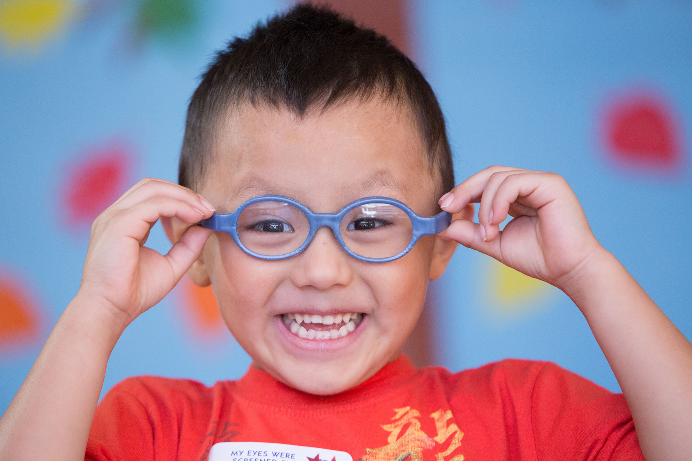 child with new glasses