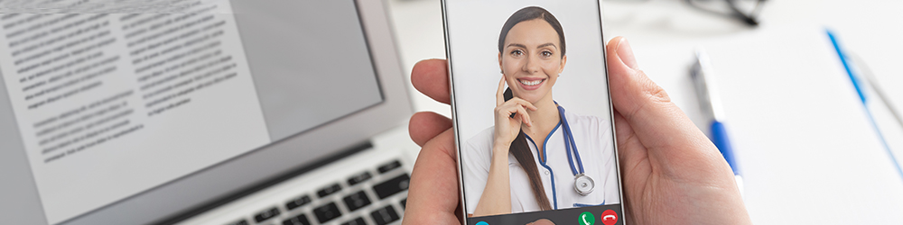 A phone video chatting with a provider