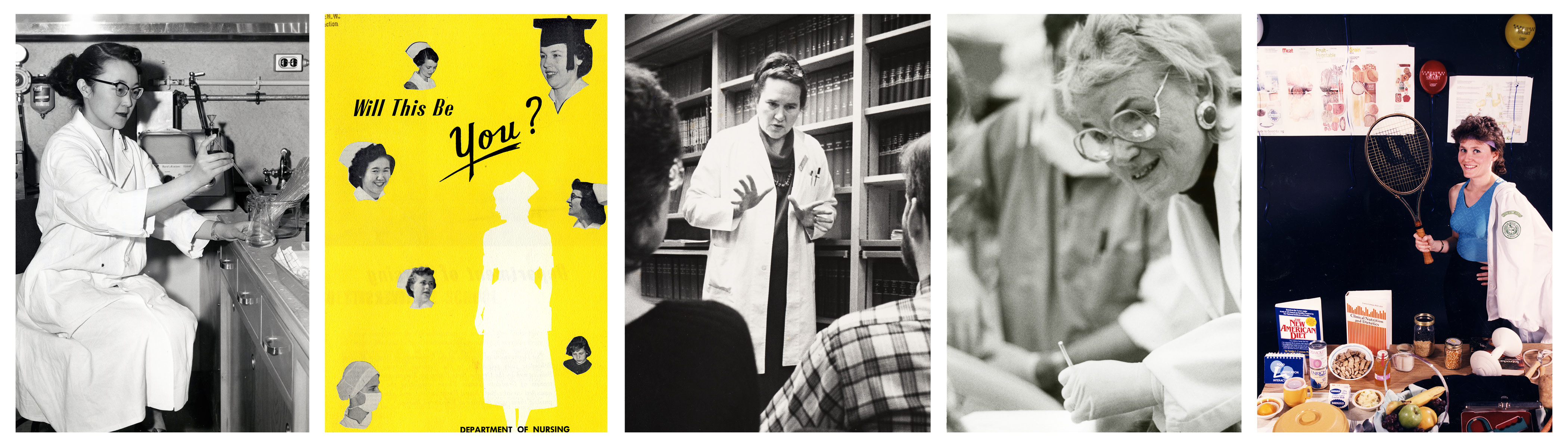 "Banner image for HCA exhibit, ""There's a Place for You: Oregon Women in the Health Sciences"" depicts 5 images of women in health professions"