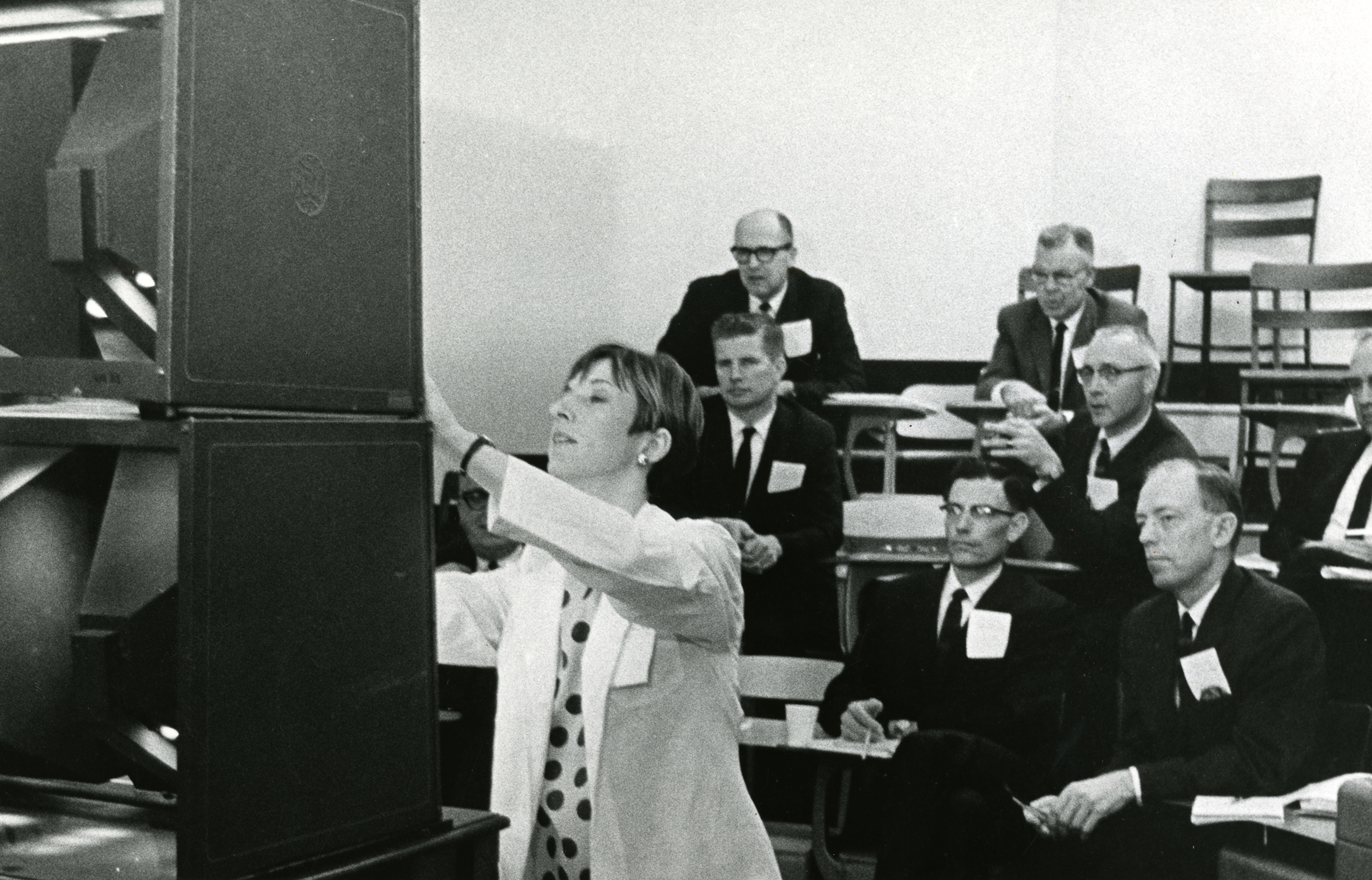 Marcia Kepler Bilbao, M.D., leads instructional demonstration, circa 1970
