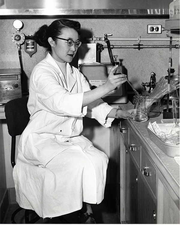 Julianne Kumasaka, Research Assistant, Cardiology Research Laboratory, 1957. Historical Image Collection.