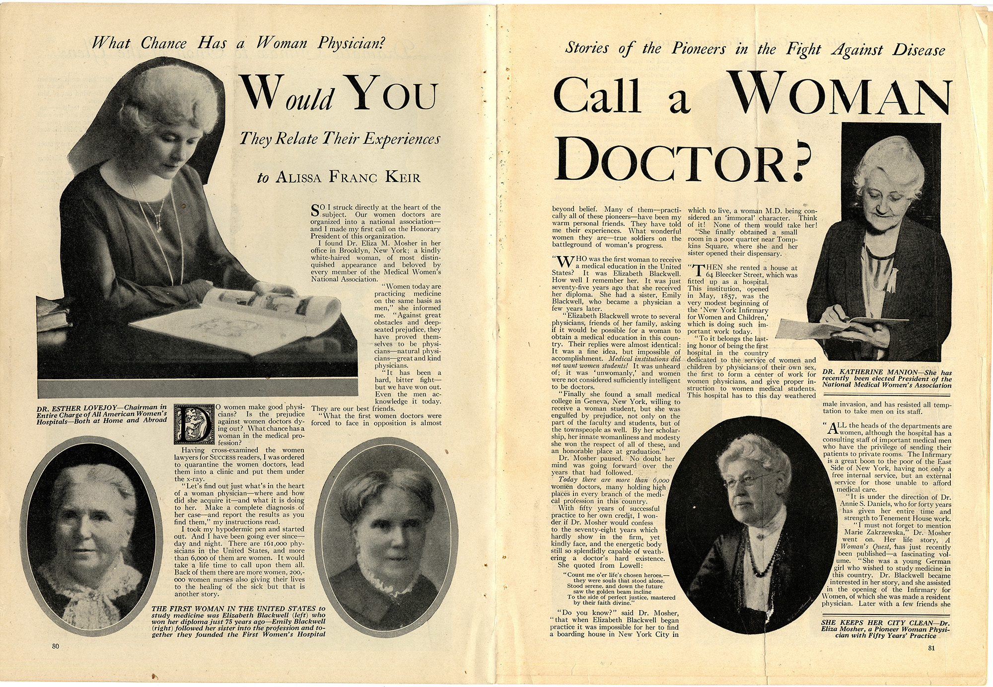 "The title page of an article in a 1925 issue of Success magazine reads, ""Would You Call a Woman Doctor?"""