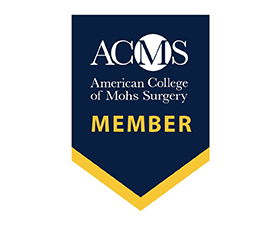 "Badge that reads ""ACMS American College of Mohs Surgery Member."""