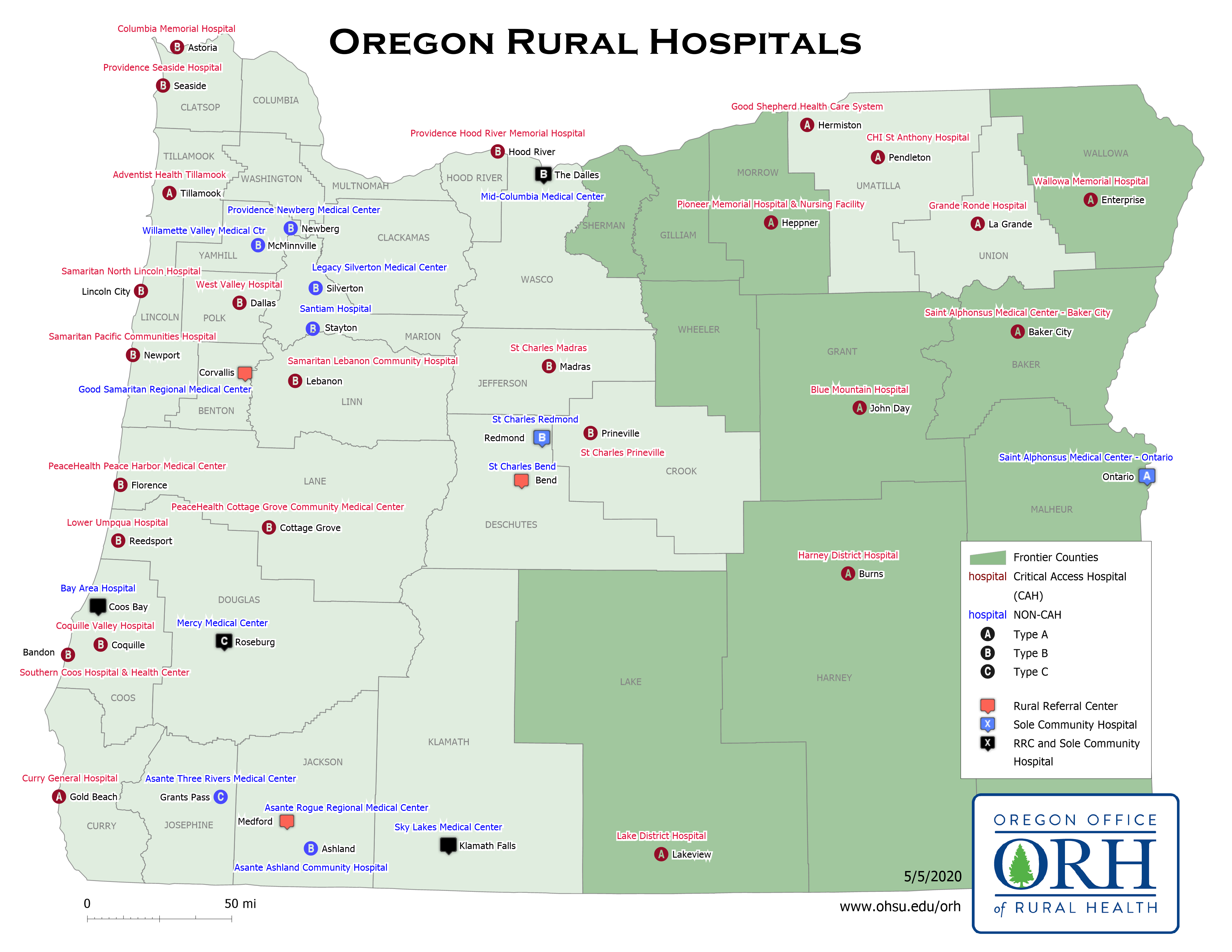 Rural Oregon Hospital Map