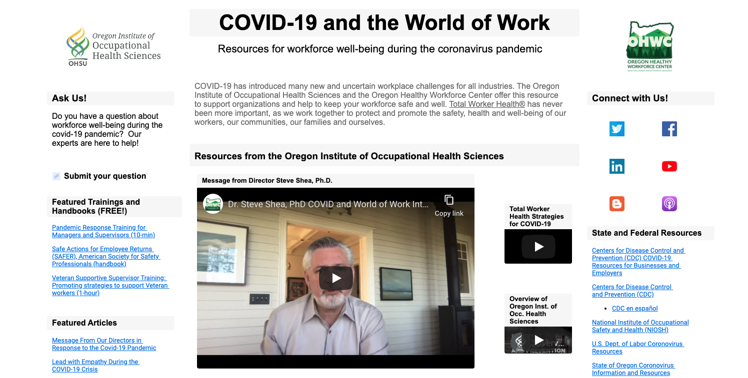 COVD-19 and the World of Work OccHealthSci Portal with resources
