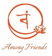 Among Friends logo including an image of two circles joined with lotus flower and a person like figurine in the middle