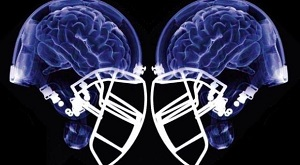 Transparent football helmets showing the human brain to highlight sports concussions.