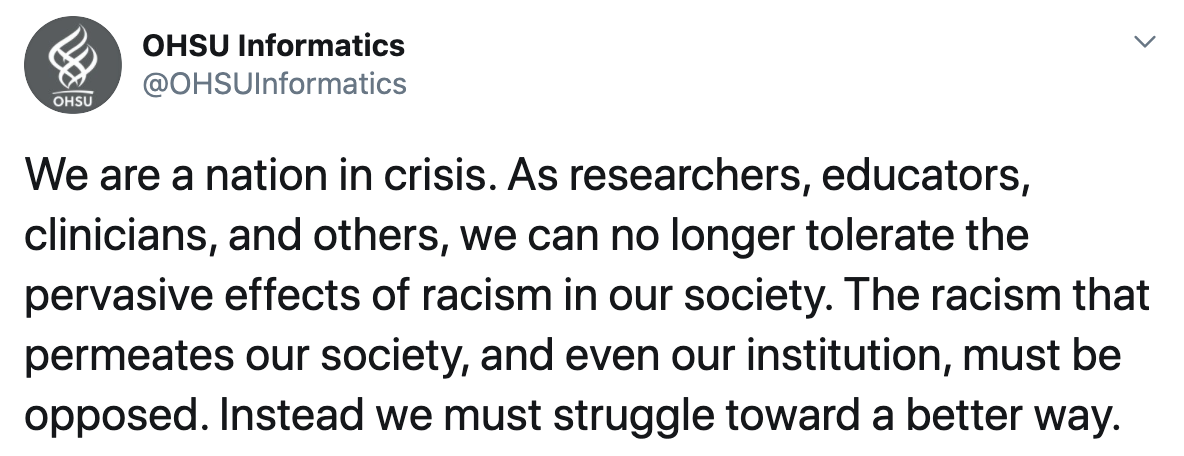 We are a nation in crisis. As researchers, educators, clinicians, and others, we can no longer tolerate the pervasive effects of racism in our society. The racism that permeates our society, and even our institution, must be opposed. Instead we must struggle toward a better way.