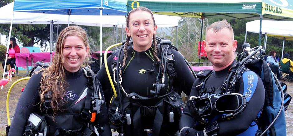 Dive for a Cure brings together scuba divers, friends and family at Woahink Lake in Florence, Oregon, to raise money for breast cancer research at the OHSU Knight Cancer Institute