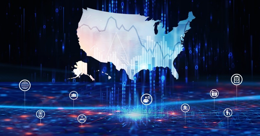 Illustration of the US map with data analytics icons around it.