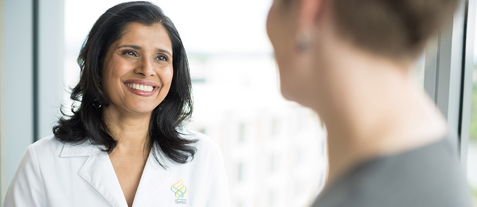 Dr. Uma Borate is among the many providers at OHSU who puts a high priority on conferring with colleagues and with community providers.
