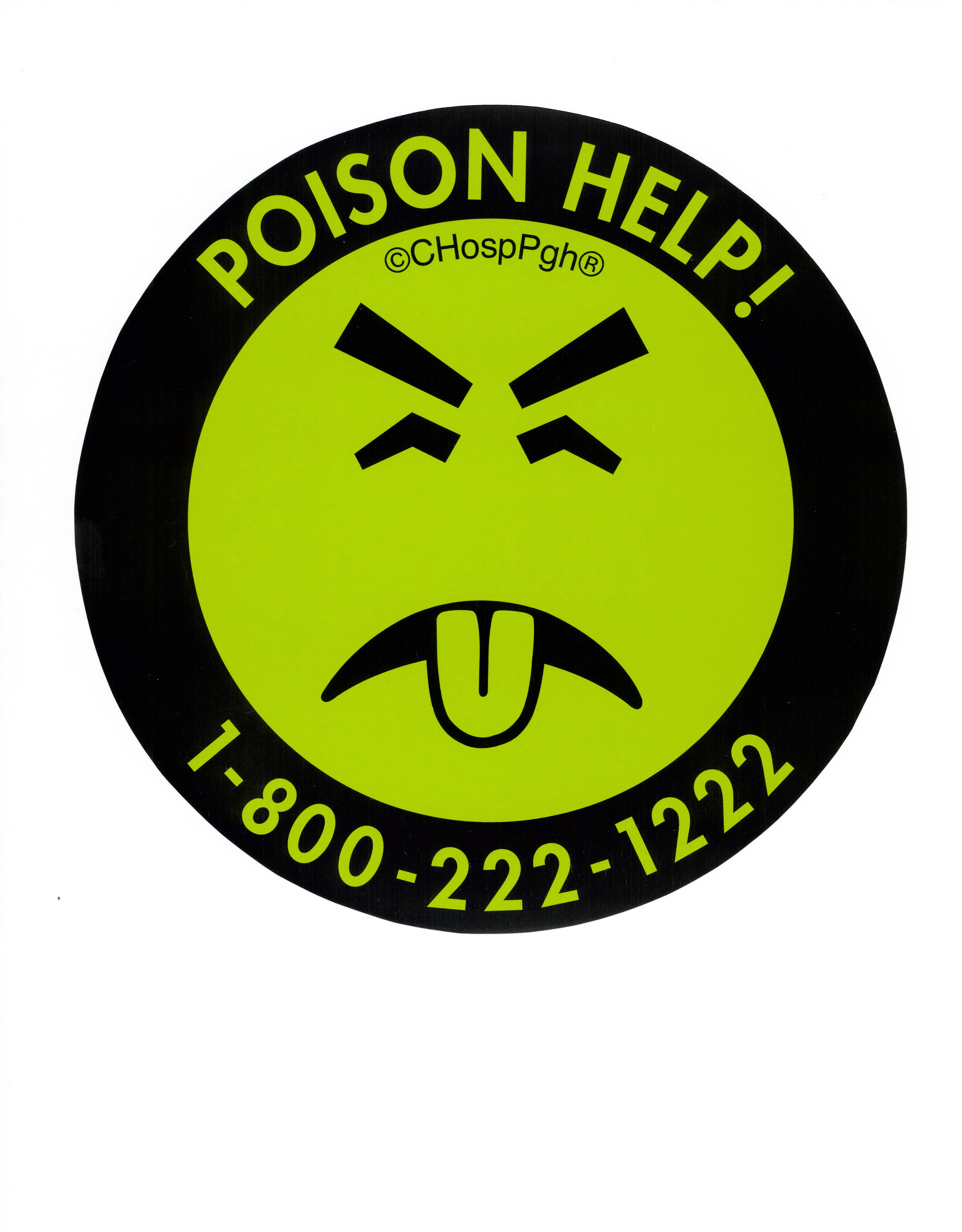 Mr. Yuk image with POISON HELP number, 1-800-222-1222