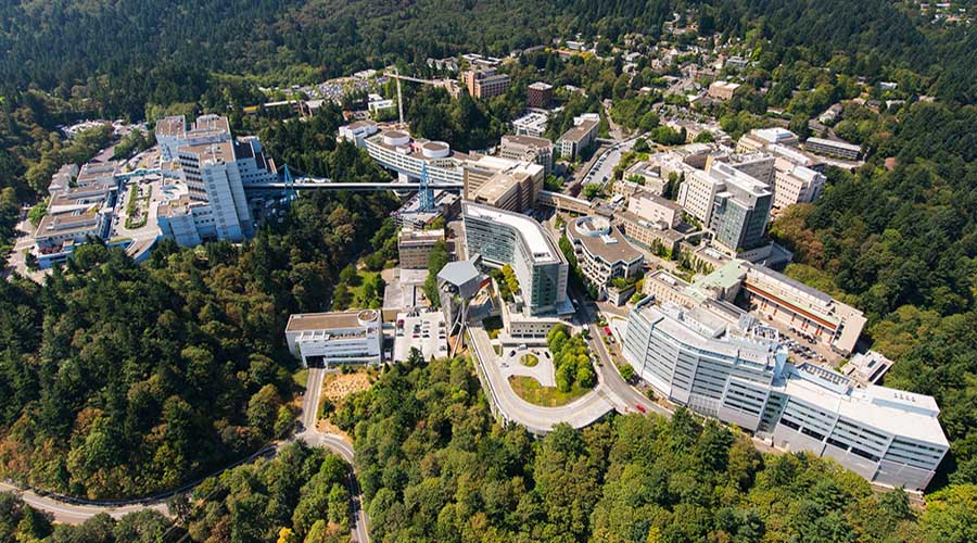 Aerial view of the OHSU Marquam Hill campus