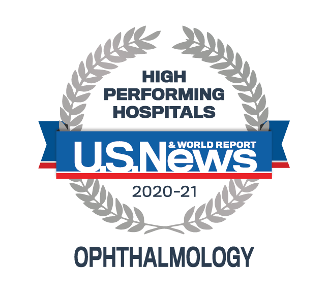 US News and World Report High Performing Hospital badge for Ophthalmology 2020-2021.