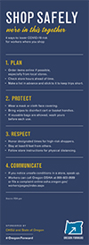 An infographic that offers four tips to lower the risk of COVID-19 for workers where you shop.