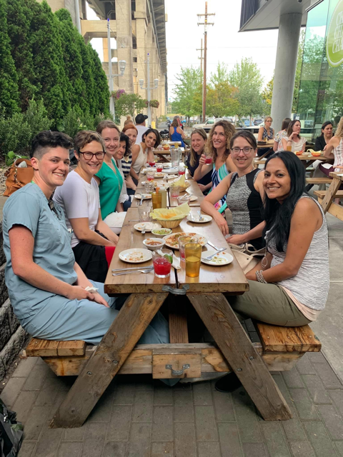 "Diagnostic Radiology Women in Radiology summer social event in 2019. ""Tapas by the Tram"" they enjoyed food and drinks at ChaChaCha waterfront."