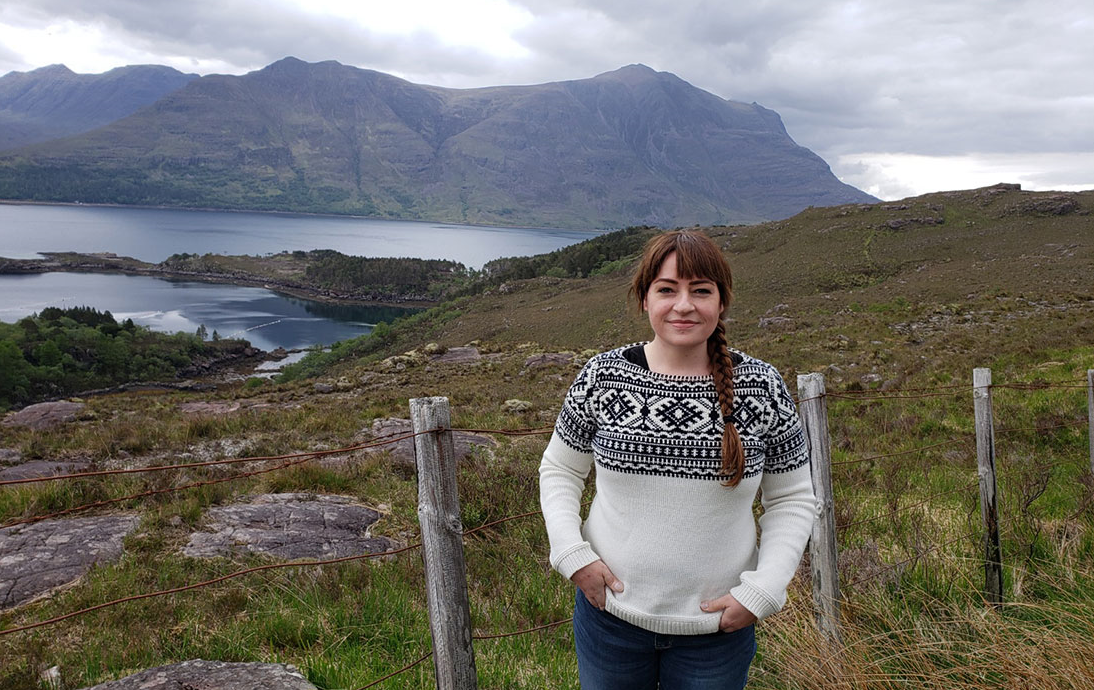 Brenna Lindsley, OHSU breast cancer patient, in Scotland.