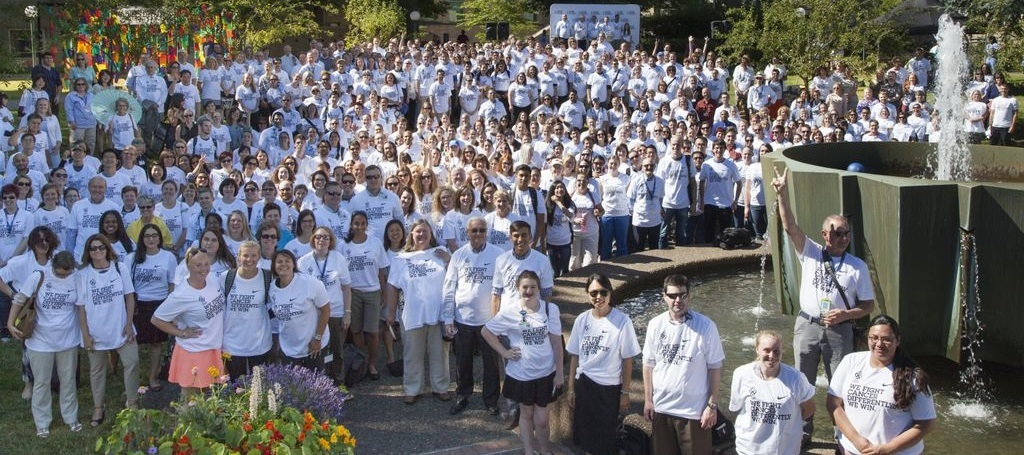 OHSU employees celebrate the completion of the Knight Cancer Challenge on June 25, 2015. (OHSU)