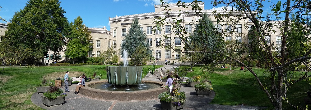 Image of Mackenzie Hall with fountain