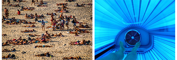 An image of people sunbathing next to a photo of someone indoor tanning