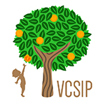 Silhouette of a child reaching for fruit on a tree next to the letters VCSIP