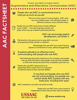 A preview image of a factsheet about Augmentative and Alternative Communication (AAC).